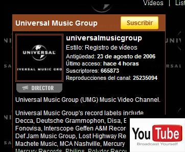 universal y youtube