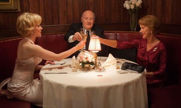 "Scarlett Johansson, Anthony Hopkins y Helen Mirren en ""Hitchcock""."