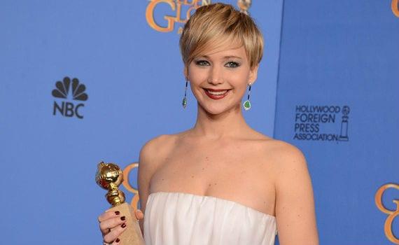 Jennifer Lawrence con el Globo de Oro